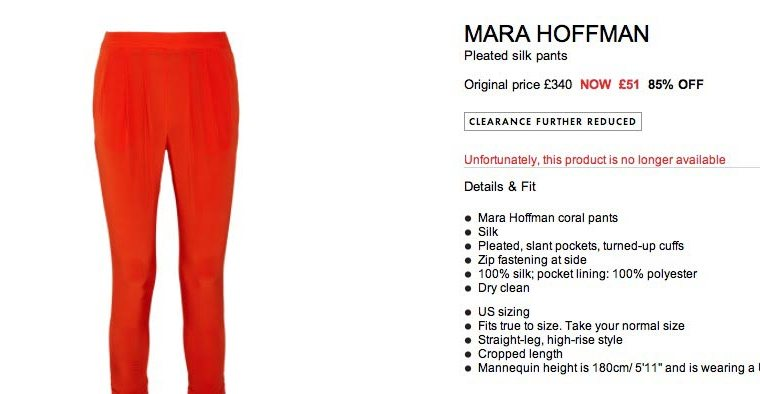 mara hoffman trousers sale