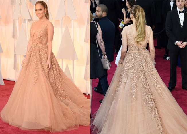Jennifer Lopez looks like she stepped straight out the pages of a fariytale with this beautiful Elie Saab gown. We just HAD to show you the back of the dress too. Jennifer can always be trusted to being dress for the occasion and we're in love