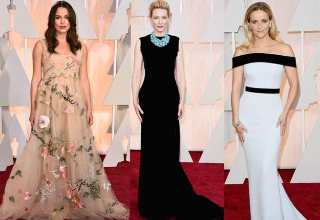 Keira Knightley may be pregnant but that doesn't mean she can't rock the hell out of this floaty Valentino gown. Cate Blanchett shows us why she's miles ahead of her younger counterparts in terms of red carpet fashion with a simple Masion Margieal and a stunning Tiffany necklace.  Reese Witherspoon