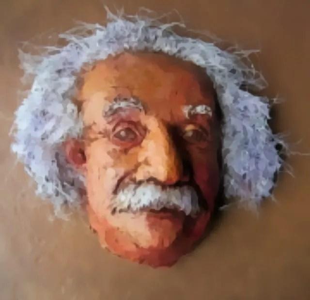 paper mache Einstein mask