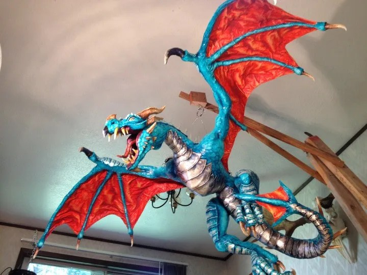 Paper Mache dragon, view from below.