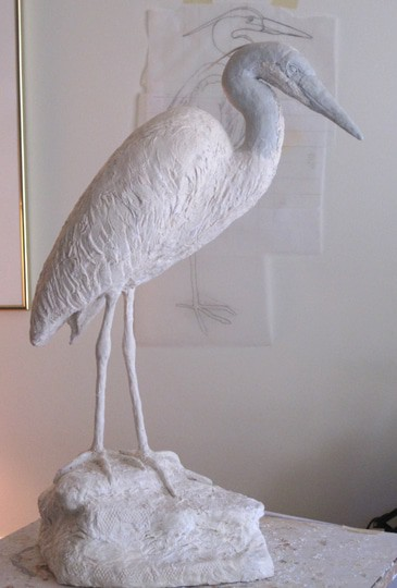 heron covered with air dry clay