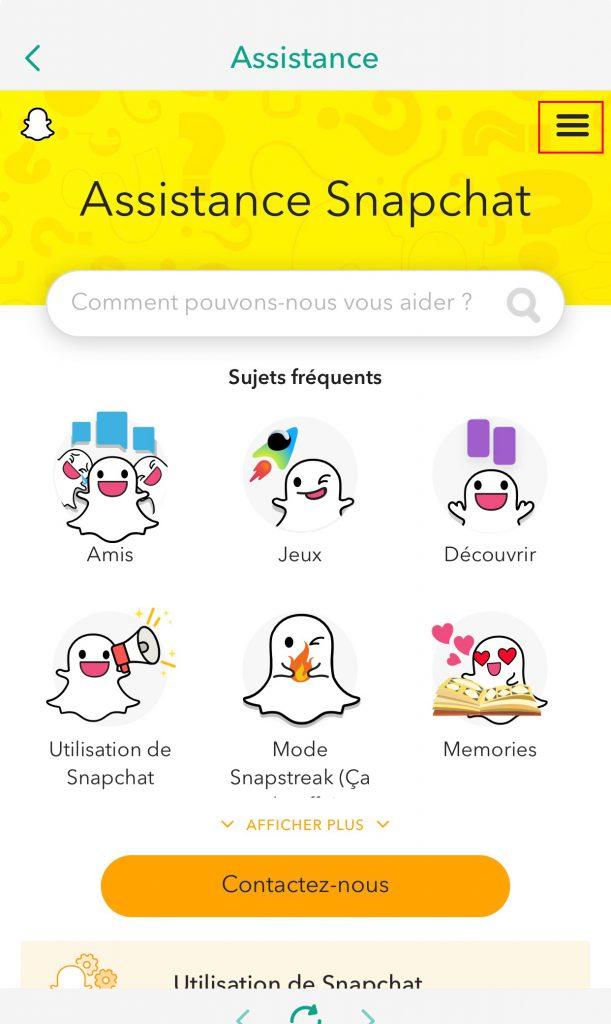 Supprimer compte snapchat assistance