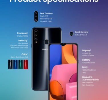 Galaxy A20s announced with triple rear cameras, 6.5″ display