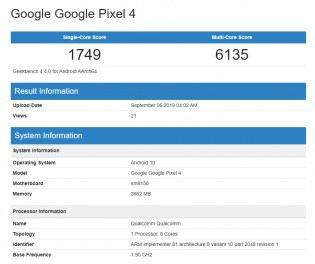 Geekbench results: Pixel 4