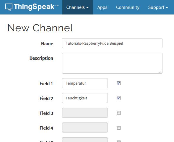 thingspeak new channel