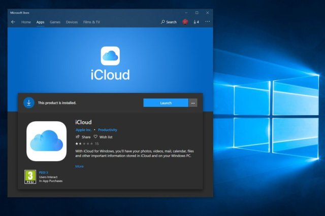 Download iCloud from the Windows 10 Microsoft Store.