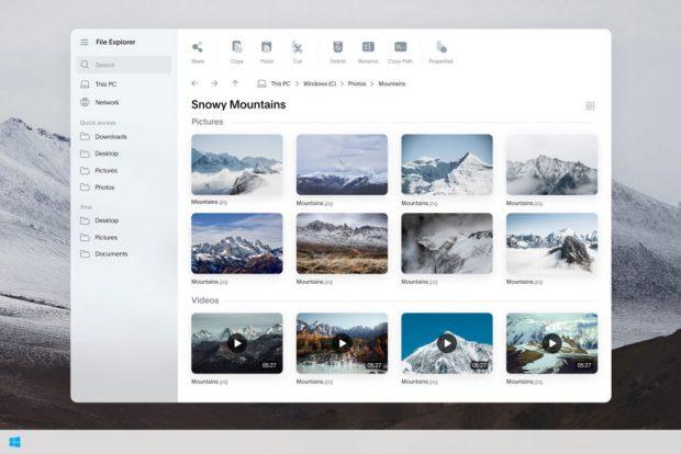 Windows 10 (Lite), concept design de l'explorateur de fichiers