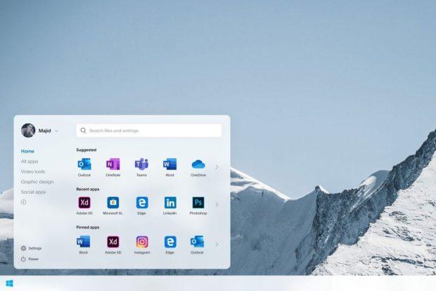 Windows 10 (Lite), concept design du menu Démarrer