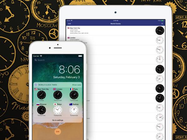 world clock timezones widget iphone ipad ios 01 - World Clock iPhone iPad - Horloge Mondiale en Widget (gratuit)