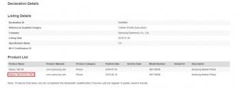 Samsung SM-T866N Galaxy Tab S6 5G certifications: Bluetooth SIG