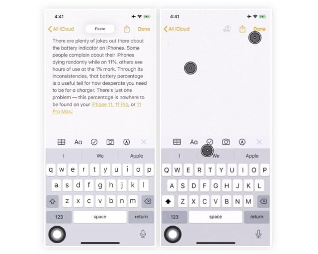 iOS 13 copier coller