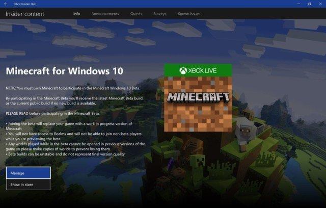 Minecraft Beta in Xbox Insider Hub