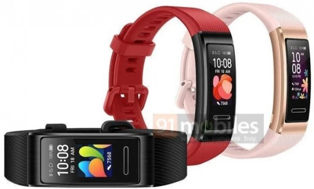 Huawei Band 4 Pro design and colors revealed through leaked render