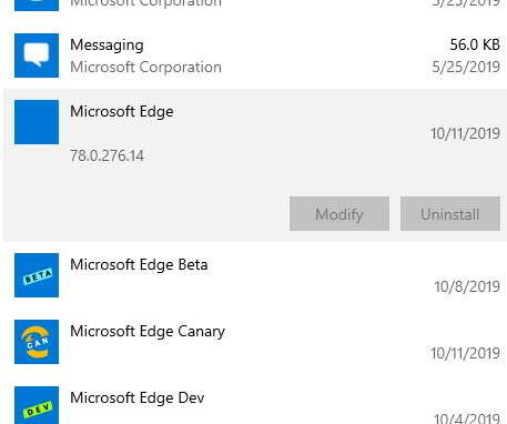 Microsoft Edge (Chromium) sous Windows 10 – Pas d'option de d'installation
