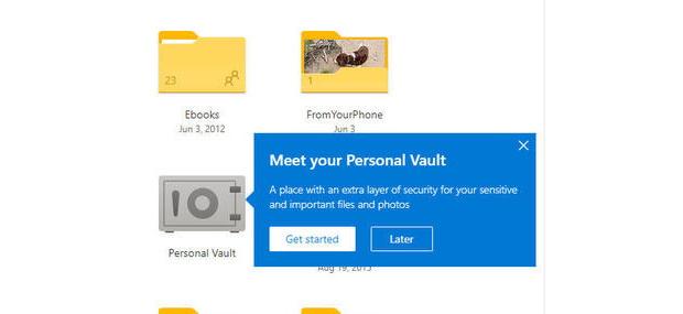 OneDrive ajoute l'option Personnal Vault pour les fichiers et photos sensibles