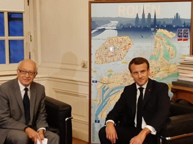 Emmanuel Macron est arrivé à Rouen (Seine-Maritime) vers 17h45, mercredi 30 octobre 2019.