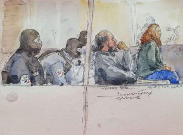 Dessin de Mohamed Mongi Amri et Anne-Diana Clain lors de leur procès, à Paris, le 19 novembre.