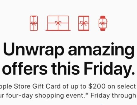 Apple Offering Up to $200 Gift Card With Select Products on Black Friday Through Cyber Monday