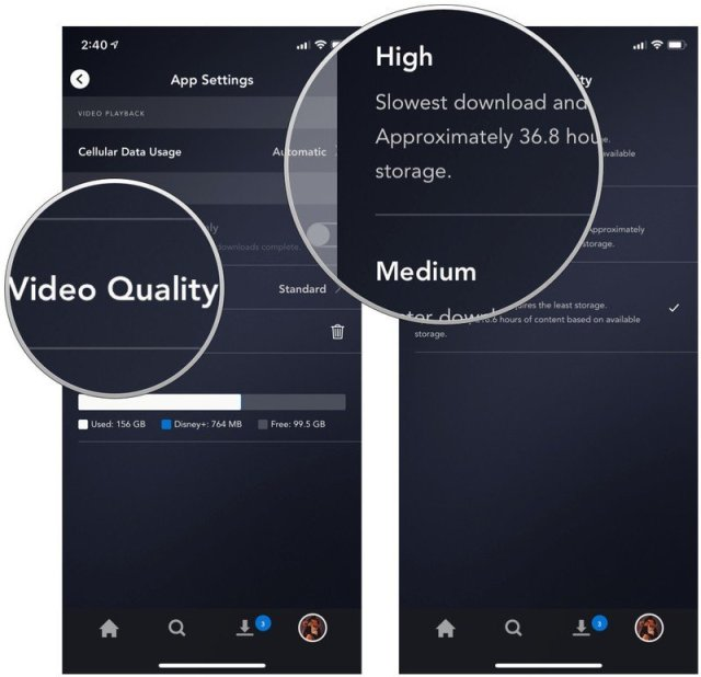 Tap Video Quality, select your preference