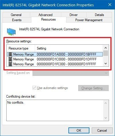 Device Manager resources settings