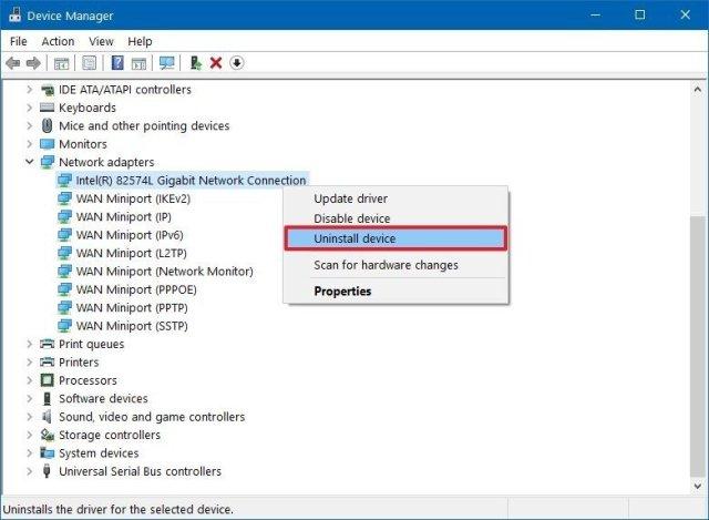 Device Manager uninstall hardware option
