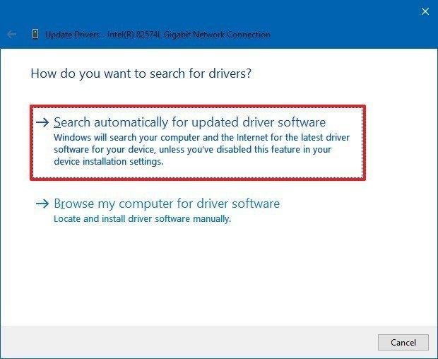 Update driver using Windows Update