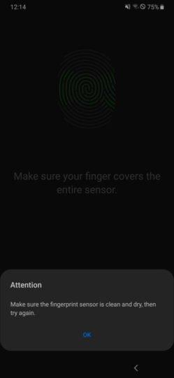 galaxy a50 fingerprint scanner bug