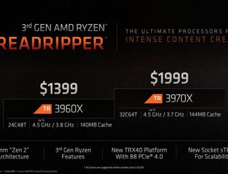 Ryzen Threadripper 3960X et 3970X, détails et prix