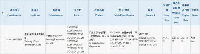 Galaxy S11 listing in 3C database
