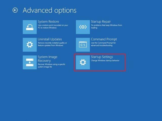 Advanced Startup settings