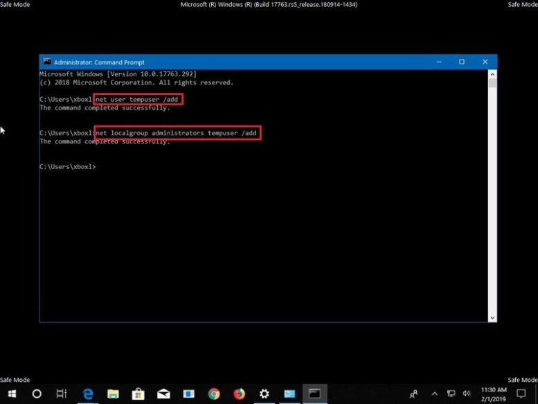 Create new account Command Prompt
