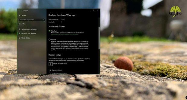 Windows 10 et Windows Search