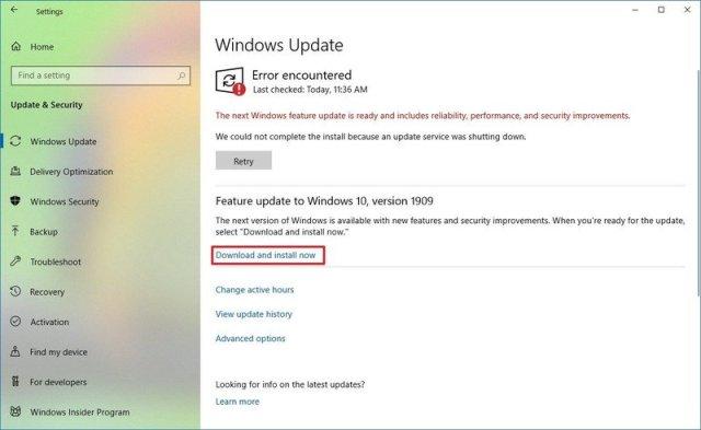 Windows Update November 2019 update