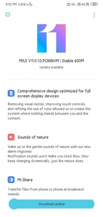MIUI 11 Global Stable update for the Redmi 8