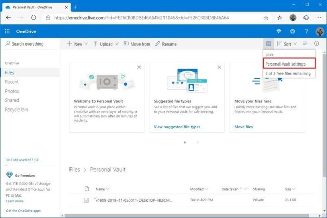 OneDrive protected area settings option