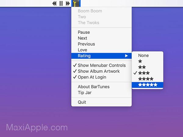 bartunes macos mac gratuit 1 - BarTunes Mac - Apple Music dans la Barre des Menus (gratuit)