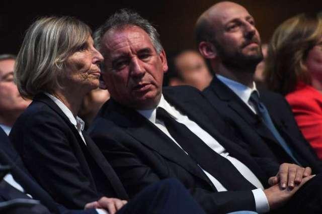 Marielle de Sarnez et François Bayrou lors d'un événement de campagne de LRM en amont des élections européennes, à Paris, le 24 mai.