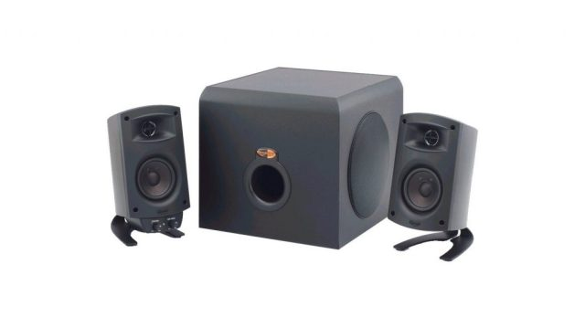 A product image of a Klipsch 2.1 system that consists of two speakers and a subwoofer.