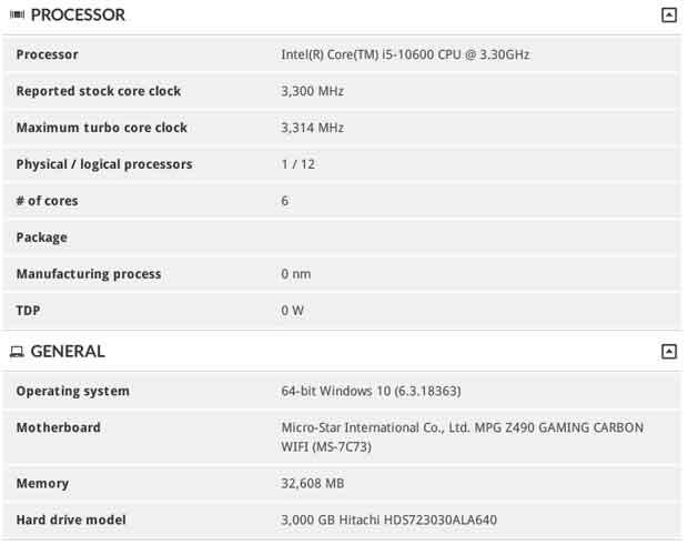 Base de données de 3DMarK – le Core i5-10600
