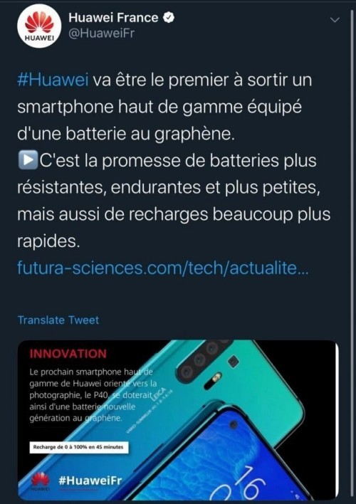 No, the Huawei P40 won't come with graphene battery, officials confirm