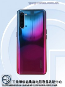 Oppo Reno3 5G, note the different color scheme (photos by TENAA)