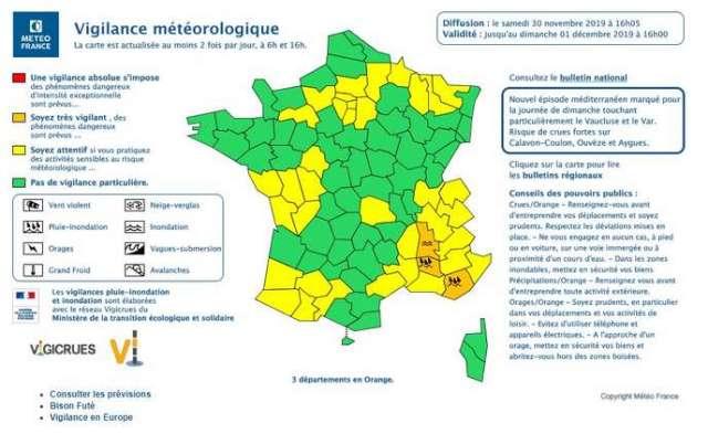 Carte de vigilance de Météo France pour le dimanche 1er décembre.
