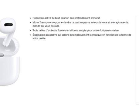 Promo: les AirPodsPro à 259€ et livrés la semaine prochaine