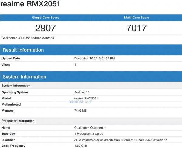 Realme X50 Youth certified, Realme X50 with 8GB of RAM hits Geekbench