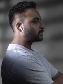 Realme execs confirming color options for the company's first truly wireless earphones