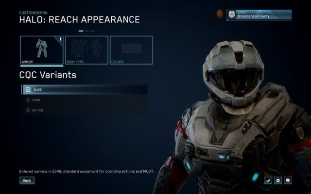 One of the customization menus in Halo: Reach on PC.
