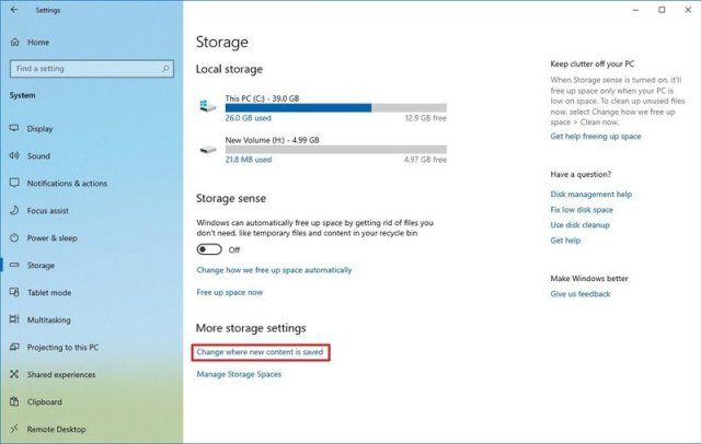 Storage settings change location of new saved files