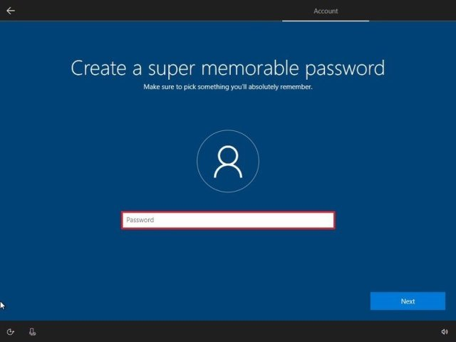 Local account password during Windows 10 Home setup