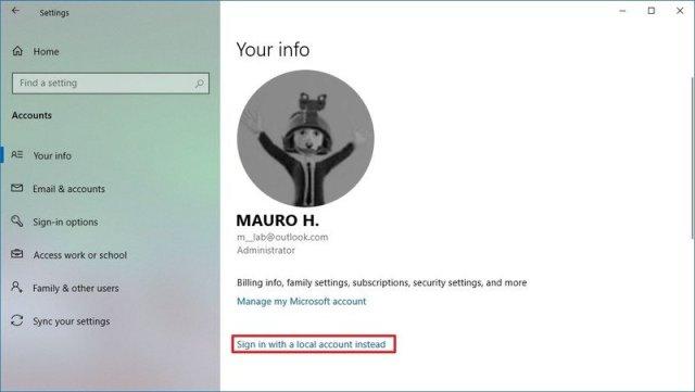 Account settings on Windows 10